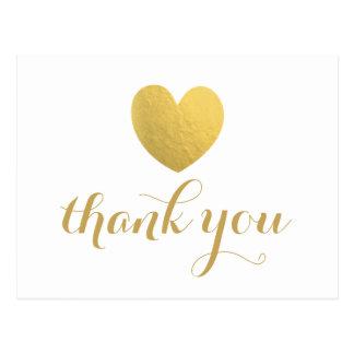 Goldfolien-Herz danken Ihnen Postkarte