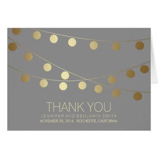 Goldfolien-Hochzeits-Lichter danken Ihnen Karte