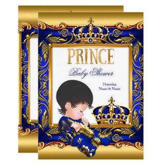 Goldfolien-Junge Prinz-Babyparty blauer Karte