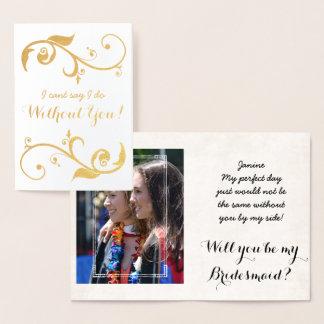 Goldfolien-personalisierte Brautjungfern-Karte Folienkarte