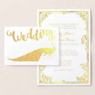 Goldfolien-Pfau-Typografie-Hochzeits-Einladungen Folienkarte