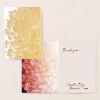 Goldfolien-Rosa-Chrysantheme-Hochzeit danken Ihnen Folienkarte