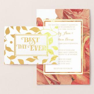 Goldfolien-Rosen-Typografie-Hochzeits-Einladungen Folienkarte