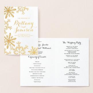 Goldfolien-Schneeflocke-Winter-Hochzeits-Programm Folienkarte