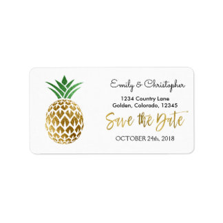 Goldfolien-Skript, das Save the Date Ananas Adressaufkleber