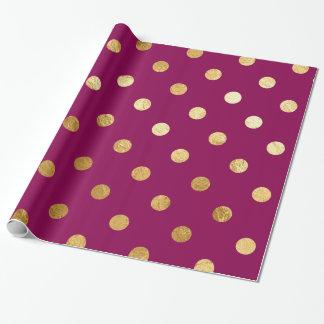 Goldfolien-Tupfen-Muster-Packpapier-Pflaume Einpackpapier