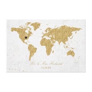 Goldfolien-Weltkarte-Hochzeits-AlternativGuestbook Leinwanddruck