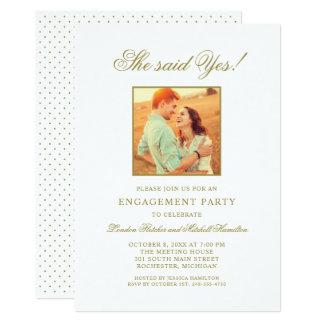 GoldFoto der Verlobungs-Party Einladungs-  Karte