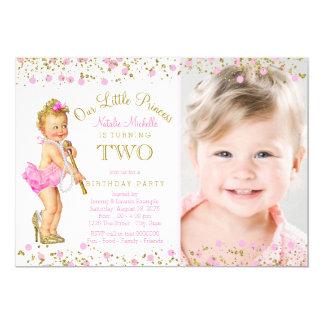 GoldFoto-Einladung Prinzessin-2. Geburtstag rosa 12,7 X 17,8 Cm Einladungskarte