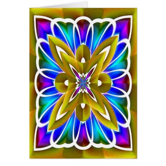 GoldFraktal-Blumen-leere Karte