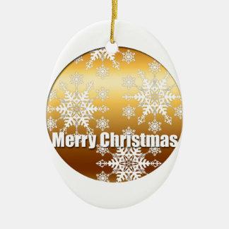 Goldfrohe Weihnacht-Schneeflocke-Oval-Verzierung Ovales Keramik Ornament