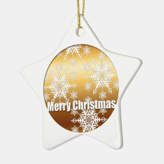 Goldfrohe Weihnacht-Schneeflocke-Stern-Verzierung Keramik Ornament