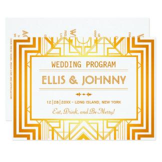 Goldgeometrische Hochzeits-Programme Karte