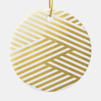 Goldgeometrisches abstraktes Streifen-Muster Rundes Keramik Ornament