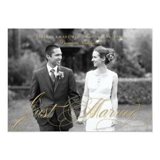 Goldgerade verheiratete Foto-Heirat-Mitteilung 12,7 X 17,8 Cm Einladungskarte
