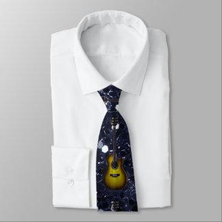 Goldgitarren-blauer Imitat-Glitter Bedruckte Krawatte