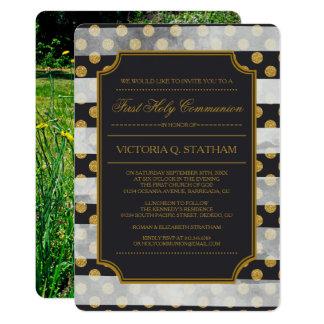 GoldGlamour-lädt erstes heilige Kommunions-Foto 12,7 X 17,8 Cm Einladungskarte