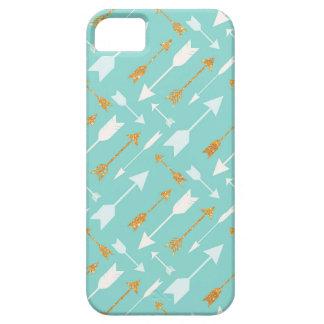 GoldGlitter-Aqua-Pfeil-Muster iPhone SE/5/5S iPhone 5 Etui