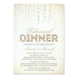 GoldGlitter-Blick-Proben-Abendessen-Einladung 12,7 X 17,8 Cm Einladungskarte