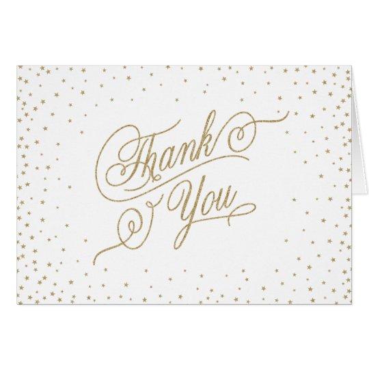 GoldGlitter-Blick-Sterne danken Ihnen zu kardieren Grußkarte