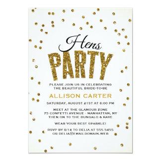 GoldGlitter-Blickconfetti-Henne-Party 12,7 X 17,8 Cm Einladungskarte