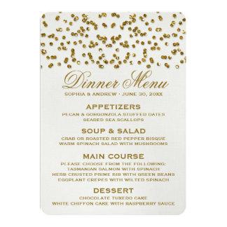 GoldGlitter-Blickconfetti-Hochzeits-Menü 12,7 X 17,8 Cm Einladungskarte