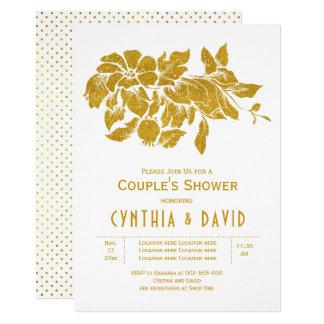 GoldGlitter-Blumenblumenhochzeits-Paardusche Karte