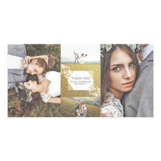 GoldGlitter-danken elegante Foto-Hochzeit Ihnen Karte