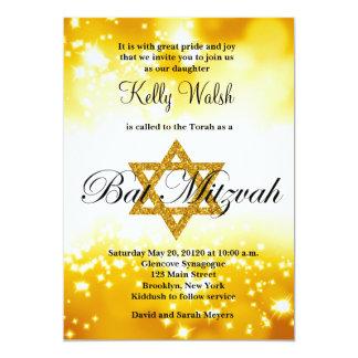 GoldGlitter-Davidsstern Schläger Mitzvah Einladung