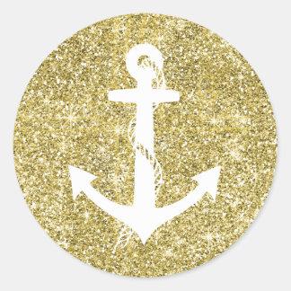 GoldGlitter-Druck-Seeanker-Aufkleber Runder Aufkleber