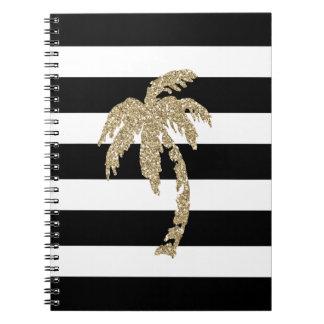 GoldGlitter-Effekt-Palme-gestreiftes Notizbuch Notizblock