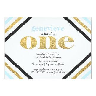 GoldGlitter-erste Geburtstags-Einladung 12,7 X 17,8 Cm Einladungskarte
