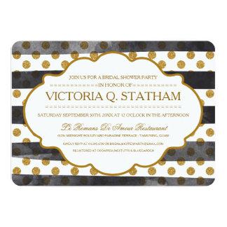 GoldGlitter-Glamour-Brautparty-Party lädt ein 12,7 X 17,8 Cm Einladungskarte