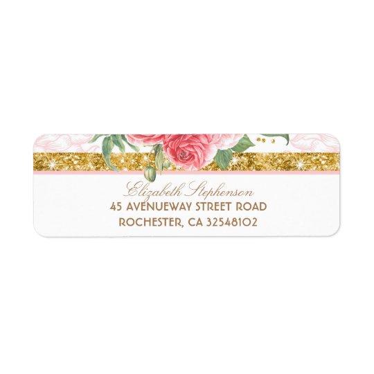 GoldGlitter-Glamour-Vintage rosa mit Rücksende Aufkleber