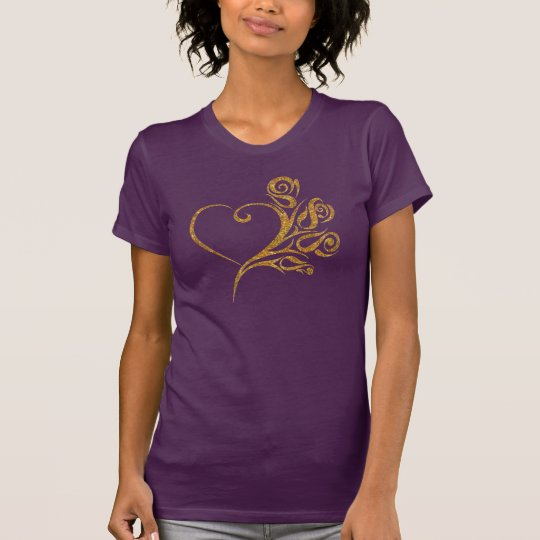 GoldGlitter-Herz T-Shirt