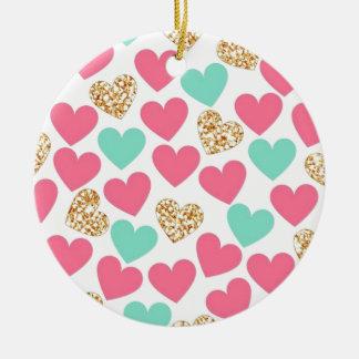 GoldGlitter-Herz-Valentinstag-Liebe Rundes Keramik Ornament