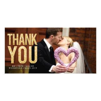 GoldGlitter-Hochzeit danken Ihnen Foto-Karten Personalisierte Photo Karte