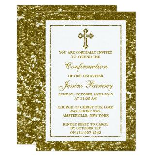 GoldGlitter-Kreuz-heilige Kommunion oder 12,7 X 17,8 Cm Einladungskarte