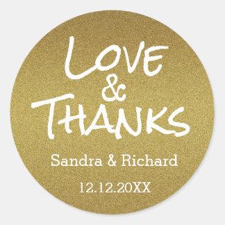 GoldGlitter-Liebe und Dank-Gastgeschenk Hochzeit Runder Aufkleber