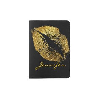 GoldGlitter-Lippen Passhülle