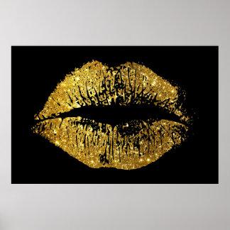 GoldGlitter-Lippen Poster