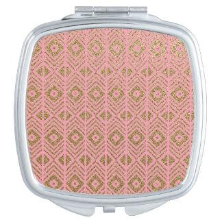 GoldGlitter-Muster auf Rosa Taschenspiegel