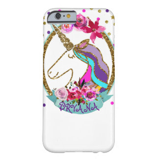 GoldGlitter-Polka-Punkteunicorn-Schein-Glitter Barely There iPhone 6 Hülle
