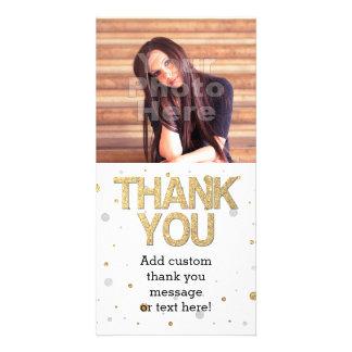 GoldGlitter-silberne Folien-DruckConfetti danken Fotokarten