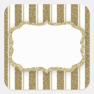 GoldGlitter-Streifen - FERTIGEN Sie besonders an Quadratischer Aufkleber