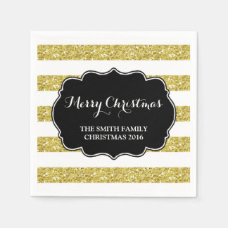GoldGlitter Stripes frohe Weihnacht-Serviette Servietten