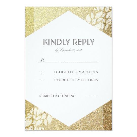 GoldGlitter-und -WEISS-Blätter, das UAWG Karten 8,9 X 12,7 Cm Einladungskarte