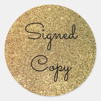 GoldGlitter unterzeichnete Kopie Runder Aufkleber