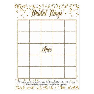 GoldGlitterconfetti-Bingo-Brautparty-Spiel Postkarte