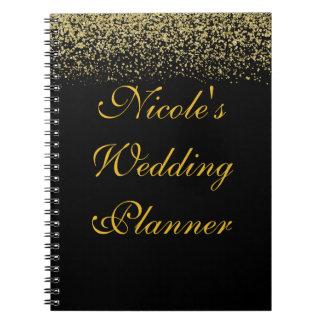 GoldGlitterconfetti-Hochzeits-Planer-Notizbuch Notizblock